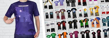 grid of designs and person wearing a purple sublimated jersey pointing at it