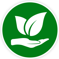 hand and plant logo on green background